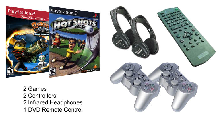 playstation greatest hits, hot shots golf, 2 pairs of infrared headphones, 2 controllers, and remote control for dvd